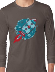 Retro rocket, planet, space, galaxy, science fiction, stars Long Sleeve T-Shirt