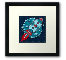 Retro rocket, planet, space, galaxy, science fiction, stars Framed Print