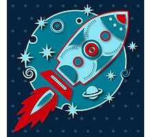Retro rocket, planet, space, galaxy, science fiction, stars Photographic Print