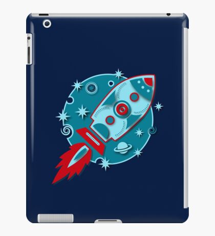 Retro rocket, planet, space, galaxy, science fiction, stars iPad Case/Skin