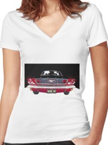 Mustang Vintage car Women's Fitted V-Neck T-Shirt
