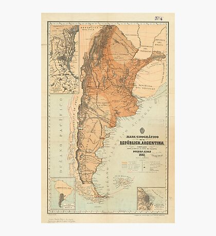 Vintage Map of Argentina (1882) Photographic Print