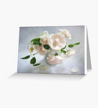Pale Pink Vintage Roses Still Life Greeting Card