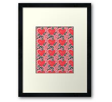 Pattern of flowers and hearts Framed Print