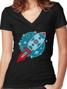 Retro rocket, planet, space, galaxy, science fiction, stars Women's Fitted V-Neck T-Shirt