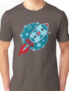 Retro rocket, planet, space, galaxy, science fiction, stars Unisex T-Shirt