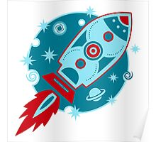 Retro rocket, planet, space, galaxy, science fiction, stars Poster