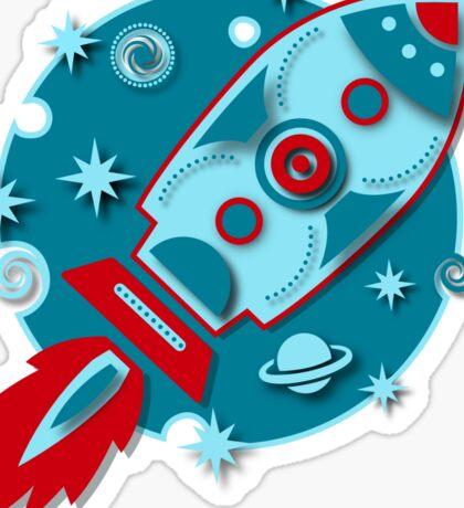Retro rocket, planet, space, galaxy, science fiction, stars Sticker