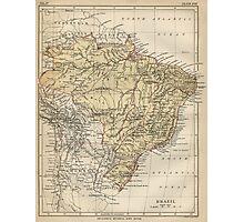 Vintage Map of Brazil (1889) Photographic Print