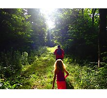 Morning Hike through the Woods Photographic Print
