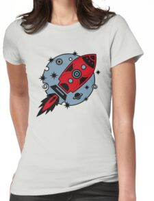 Retro rocket, planet, space, galaxy, science fiction, stars Womens Fitted T-Shirt