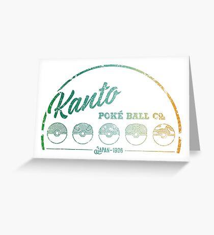 Green Kanto Poké Ball Company on White Greeting Card