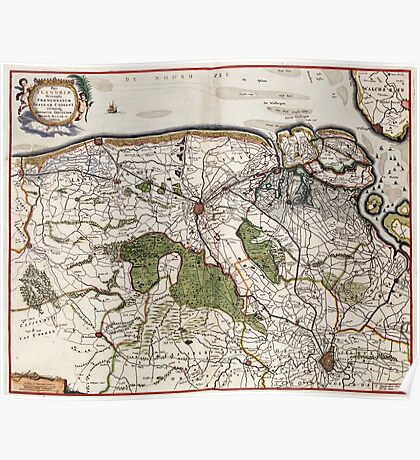 Vintage Map of Flanders Belgium (17th Century) Poster