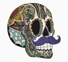 Mustache Sugar Skull (Color Version) One Piece - Long Sleeve