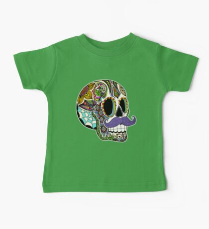 Mustache Sugar Skull (Color Version) Baby Tee