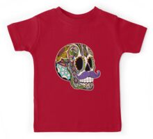 Mustache Sugar Skull (Color Version) Kids Tee