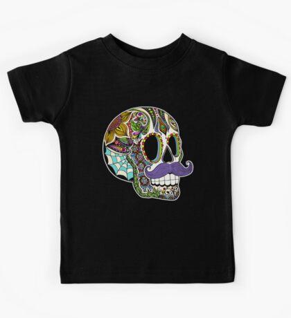 Mustache Sugar Skull (Color Version) Kids Tee