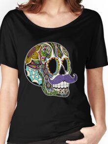 Mustache Sugar Skull (Color Version) Women's Relaxed Fit T-Shirt