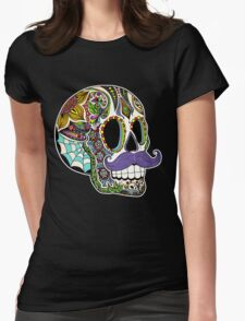 Mustache Sugar Skull (Color Version) Womens Fitted T-Shirt