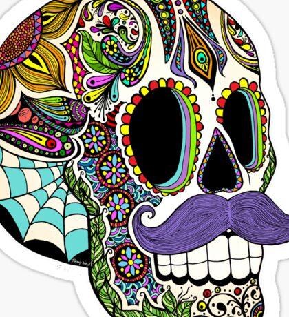 Mustache Sugar Skull (Color Version) Sticker