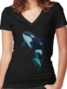 """The Matriarch"" Killer Whale ~ Orca ~ J2 Granny ~ Watercolor Women's Fitted V-Neck T-Shirt"