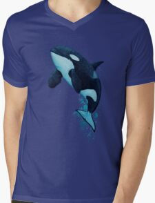 """The Matriarch"" Killer Whale ~ Orca ~ J2 Granny ~ Watercolor Mens V-Neck T-Shirt"