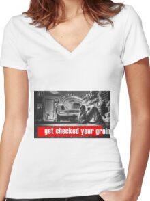 "Original graphic work: ""Get checked your groin"". Women's Fitted V-Neck T-Shirt"