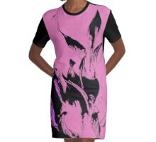 Black Flames on Pink Pattern Graphic T-Shirt Dress