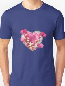 Heart Shaped with Flowers Digital Collage Unisex T-Shirt