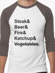 Steak, Beer, Fire, Ketchup - no Vegetables Men's Baseball ¾ T-Shirt