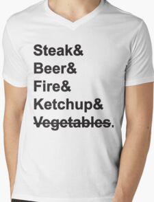 Steak, Beer, Fire, Ketchup - no Vegetables Mens V-Neck T-Shirt