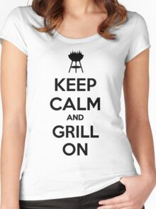 Keep calm and grill on Women's Fitted Scoop T-Shirt
