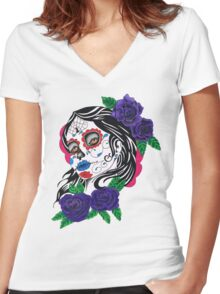 day of the dead girl Women's Fitted V-Neck T-Shirt