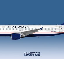 Illustration of US Airways Airbus A320 - Blue Version by © Steve H Clark