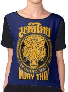 tiger sagat muay thai  thailand martial art logo Chiffon Top