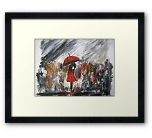 Girl In Red Raincoat Umbrella Rainy Day Acrylic Painting On Paper Framed Print