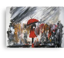 Girl In Red Raincoat Umbrella Rainy Day Acrylic Painting On Paper Canvas Print