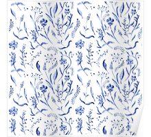 Indigo blue watercolor herbal pattern Poster