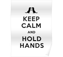 Keep Calm and Hold Hands (Otters holding hands) Black design Poster