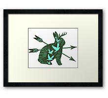 Jackalope (green) Framed Print