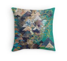 Blue Triangles on Green Throw Pillow