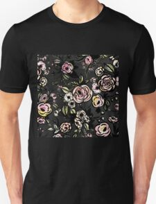 water color,floral,flower,pattern,black,pink,red,yellow,green Unisex T-Shirt