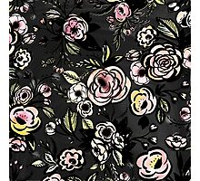 water color,floral,flower,pattern,black,pink,red,yellow,green Photographic Print
