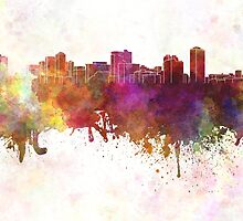 Manila skyline in watercolor background by paulrommer