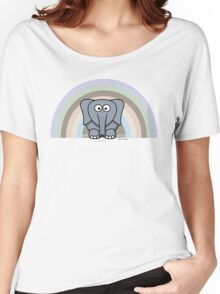 Cool Funny Cartoon Elephant Rainbow Cute Design Women's Relaxed Fit T-Shirt