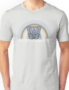 Cool Funny Cartoon Elephant Rainbow Cute Design Unisex T-Shirt