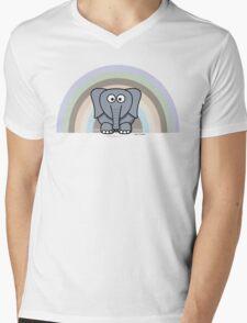 Cool Funny Cartoon Elephant Rainbow Cute Design Mens V-Neck T-Shirt