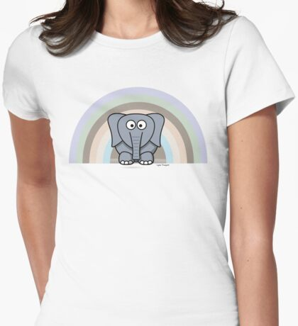 Cool Funny Cartoon Elephant Rainbow Cute Design Womens Fitted T-Shirt