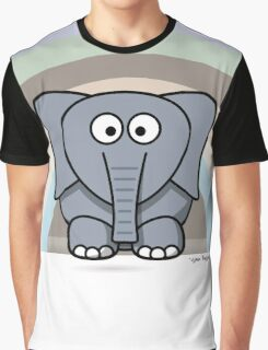Cool Funny Cartoon Elephant Rainbow Cute Design Graphic T-Shirt
