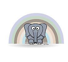 Cool Funny Cartoon Elephant Rainbow Cute Design Photographic Print